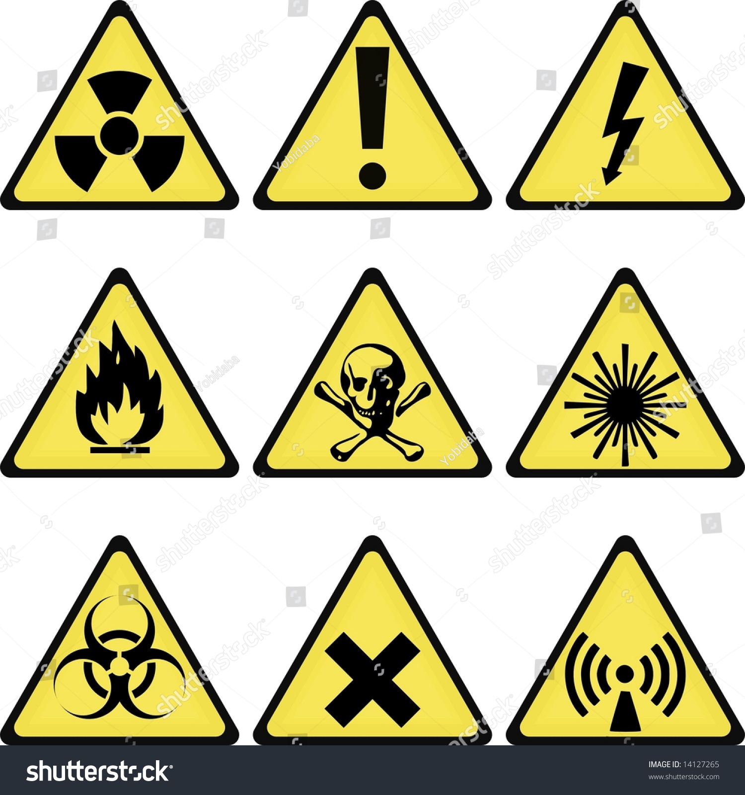 Industrial Laboratory Warning Signs Collection Stock Illustration