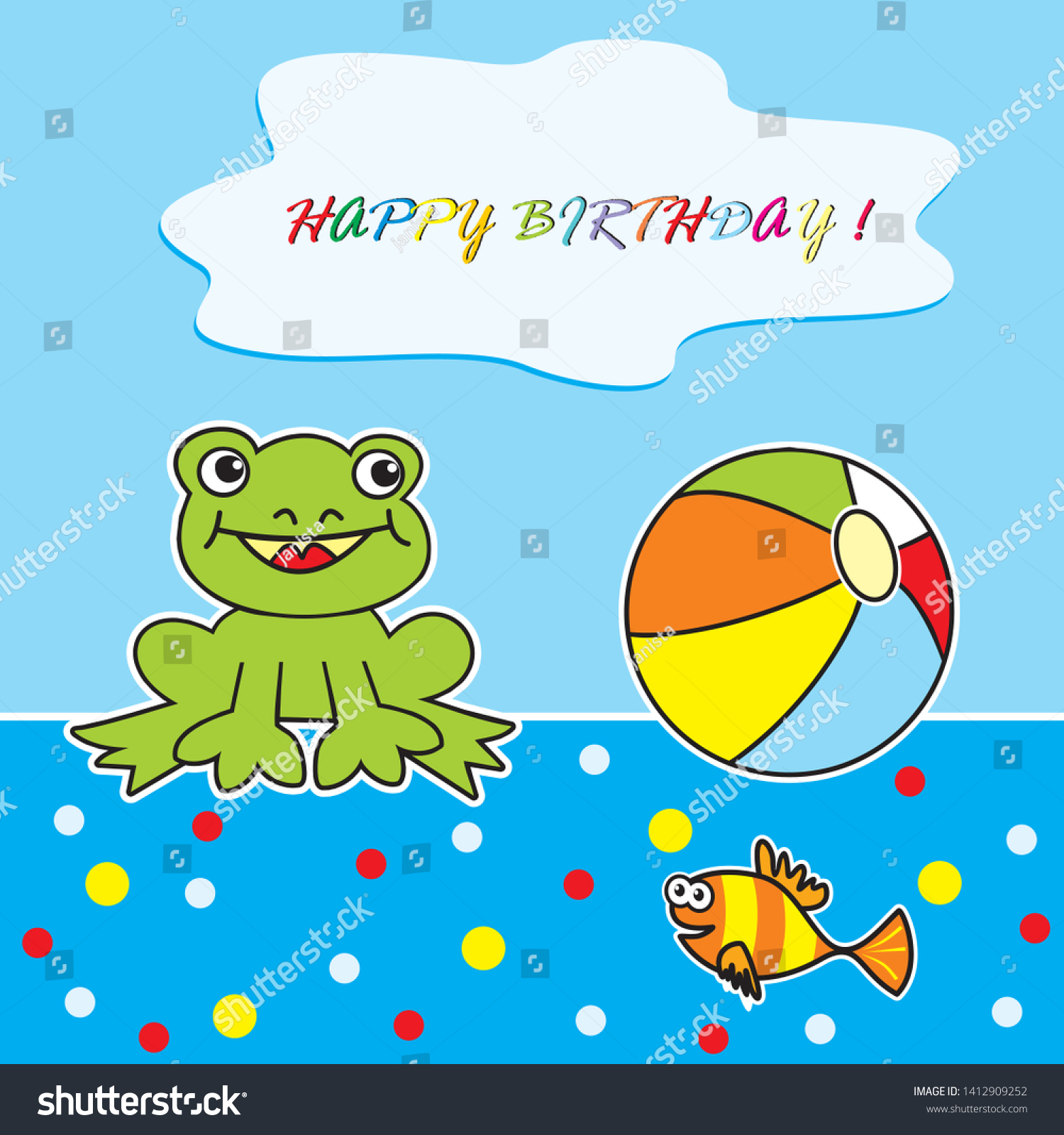 Happy Birthday Frog Ball Postcard Vector Stock Vector Royalty Free 1412909252