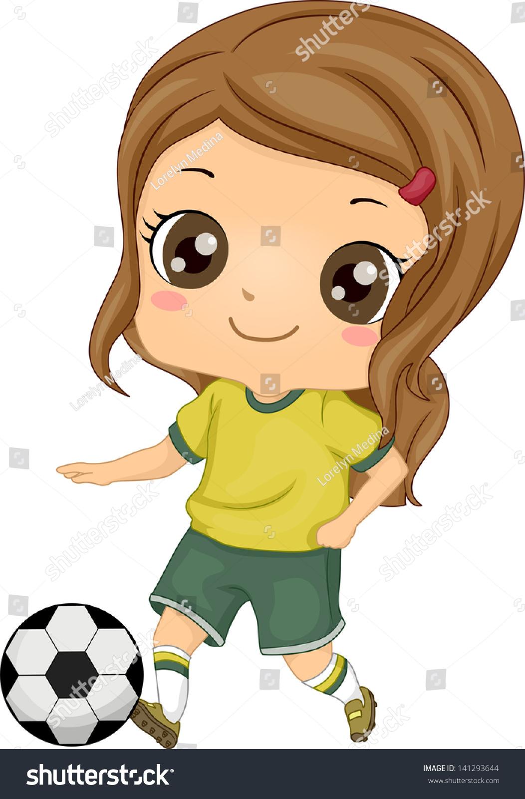 illustration little kid soccer girl kicking stock vector 141293644