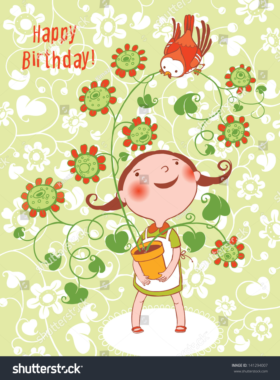 Cute Little Girl Red Bird Birthday Vector 141294007 – Little Girl Birthday Cards