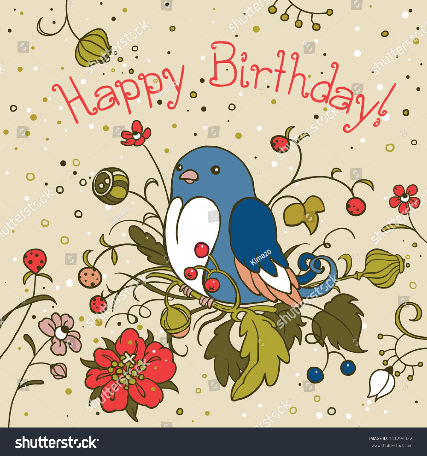 Cute blue bird birthday card greeting stock vector 141294022 cute blue bird birthday card greeting card template design can be used for packaging stopboris Image collections