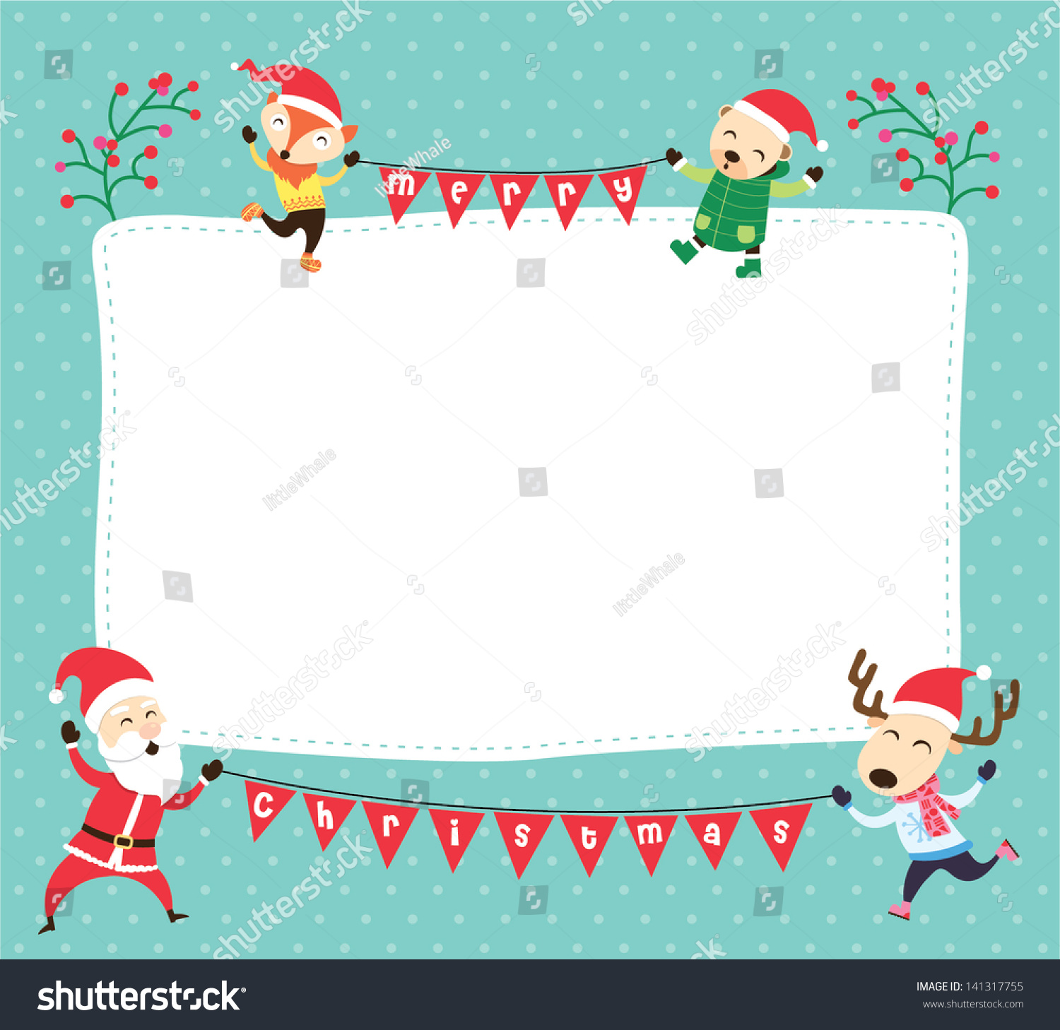 blank template christmas greetings card postcard stock vector 141317755 shutterstock. Black Bedroom Furniture Sets. Home Design Ideas