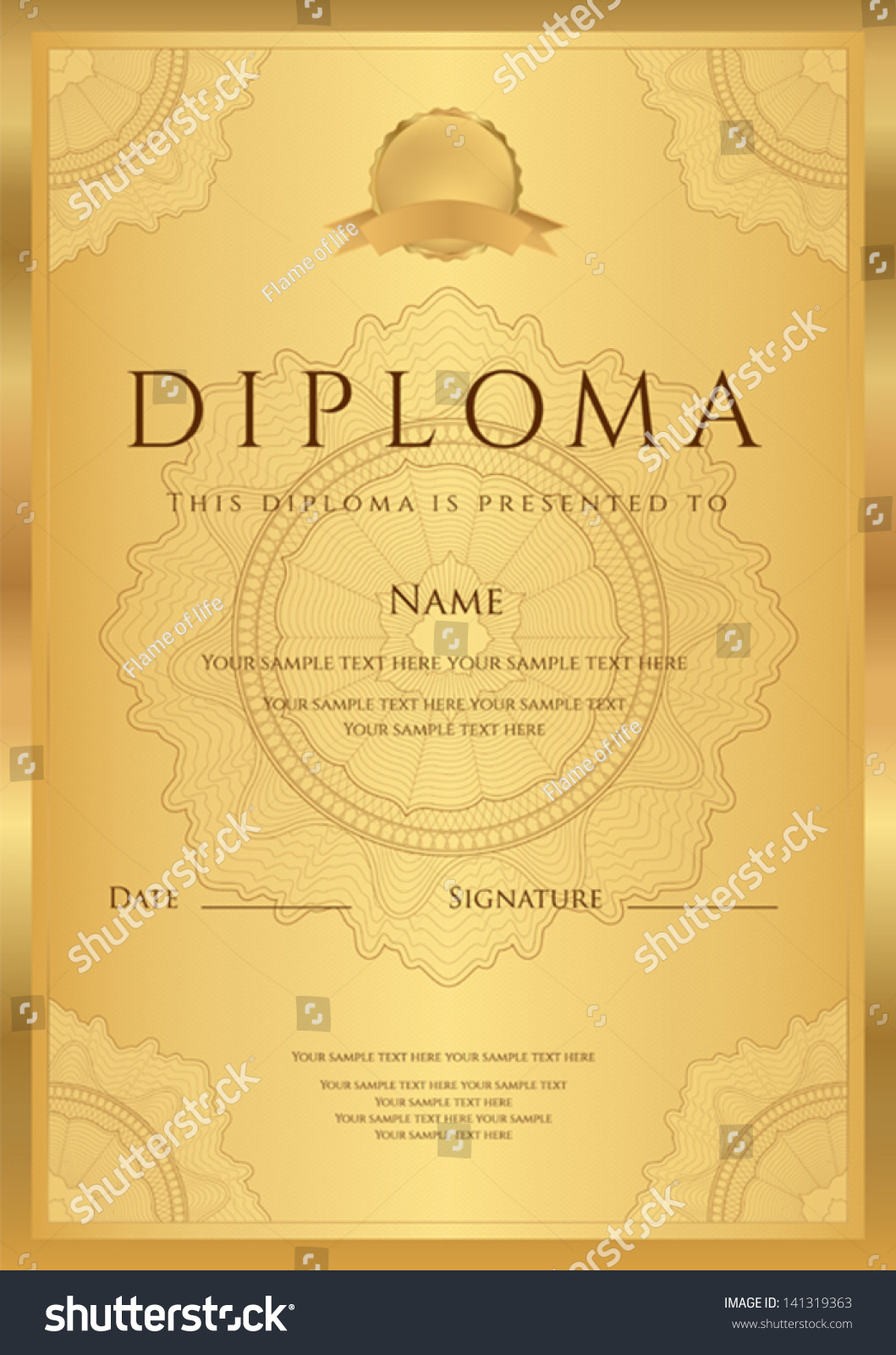 Gold Diploma Completion Template Sample Blank Stock Vector ...