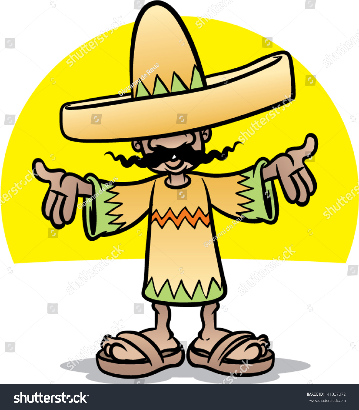 mexican cartoon character stock vector 141337072