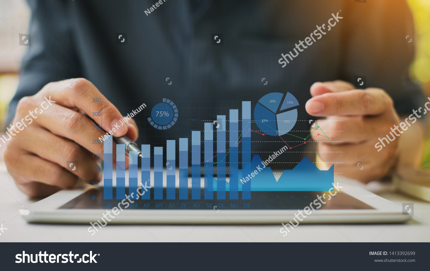Businessman investment consultant analyzing company financial report balance statement working with digital augmented reality graphics. Concept for business, economy and marketing. 3D illustration. #1413392699