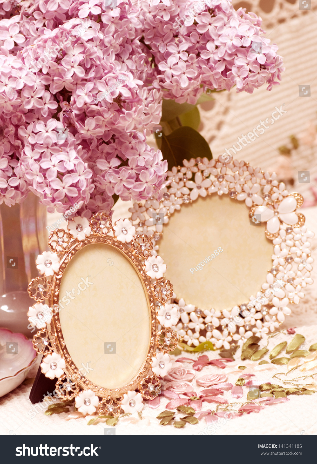 Beautiful Flowers Lilac Vintage Frames Stock Photo Edit Now