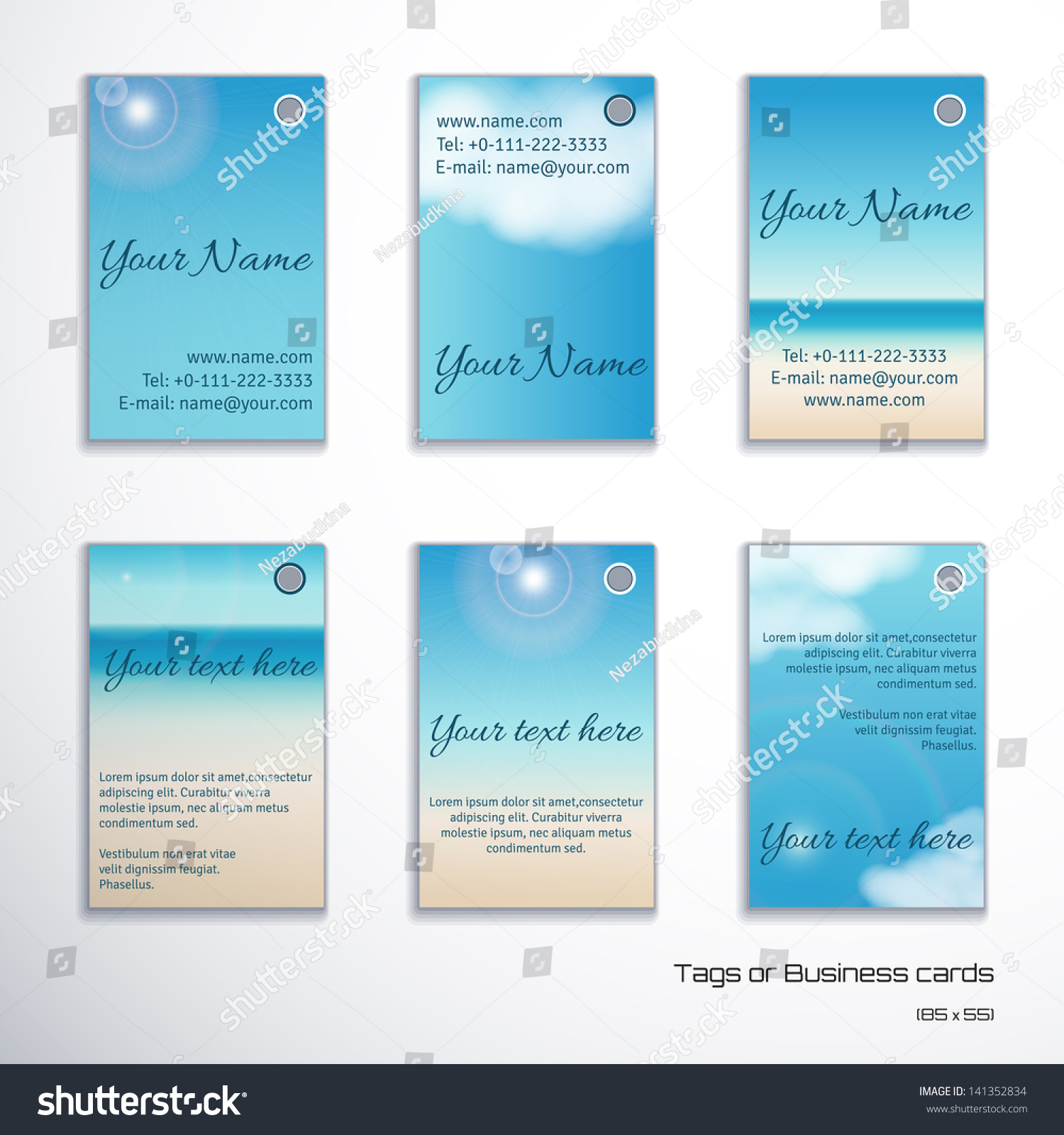 Set Six Vertical Business Cards Tags Stock Vector