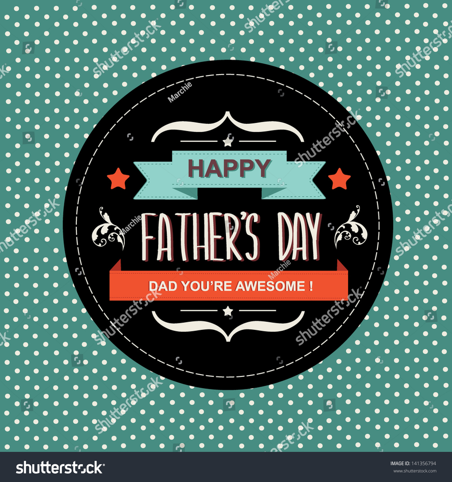 Poster Happy Fathers Daytypographyvector Illustration Stock Vector ...