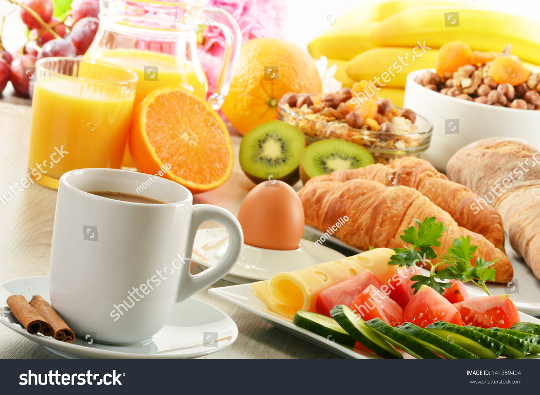 Breakfast With Coffee, Orange Juice, Croissant, Egg ...