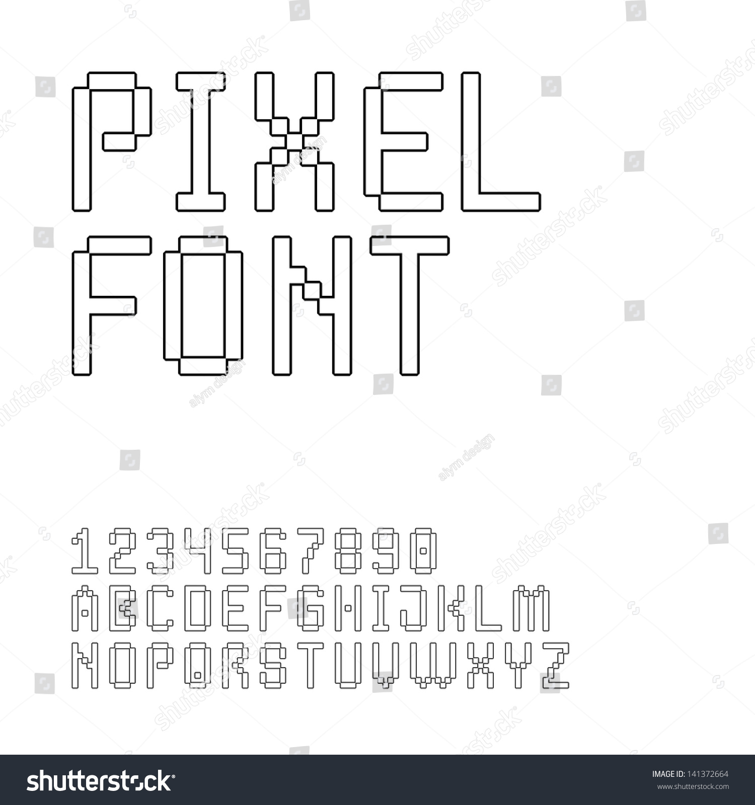 Pixel Font Set. Letters And Digits (Vector Version