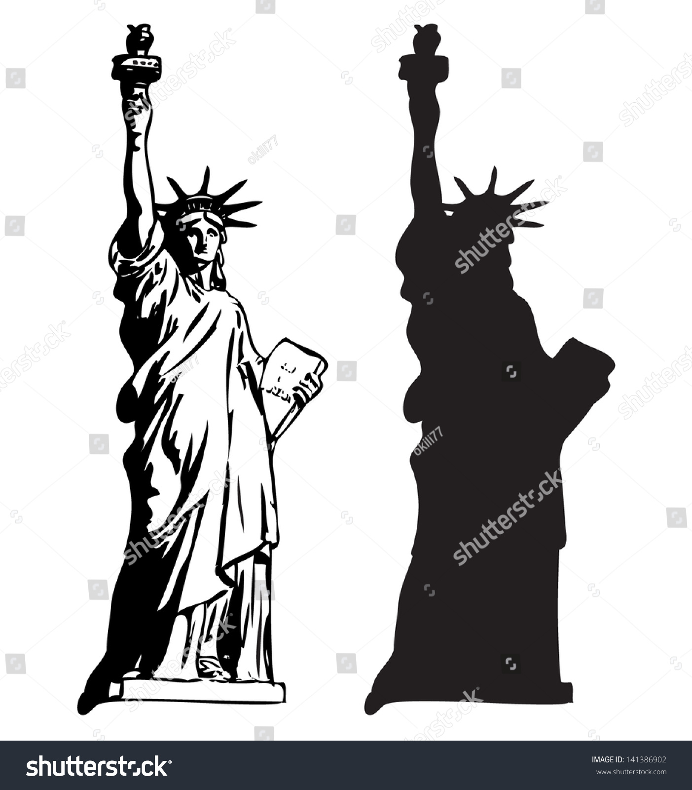 Statue liberty outline silhouette vector stock vector for Statue of liberty drawing template