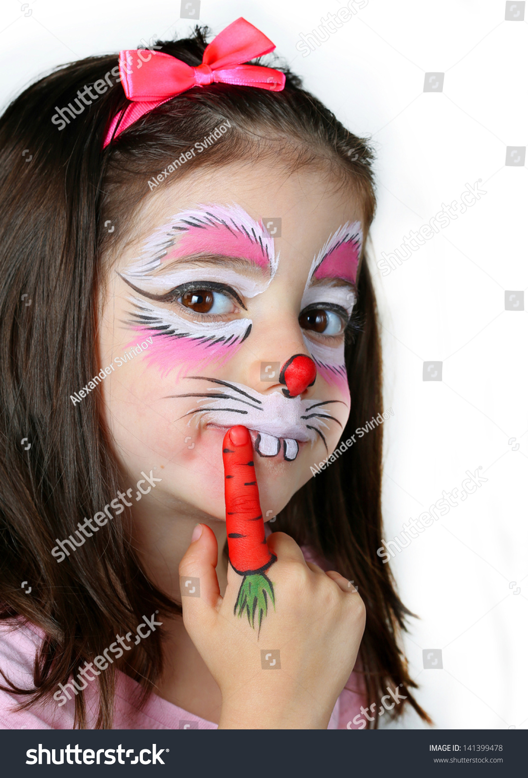 pretty girl face painting bunny stock photo 141399478