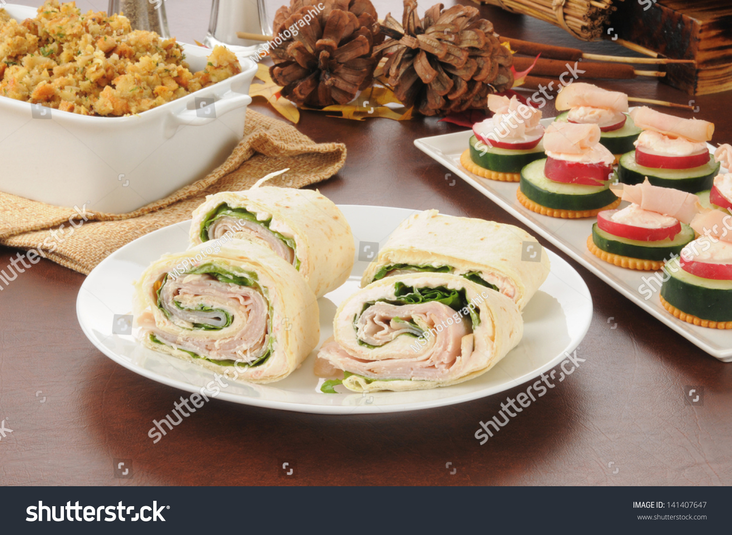 Sliced turkey or chicken wraps with canapes and dressing for Canape wraps