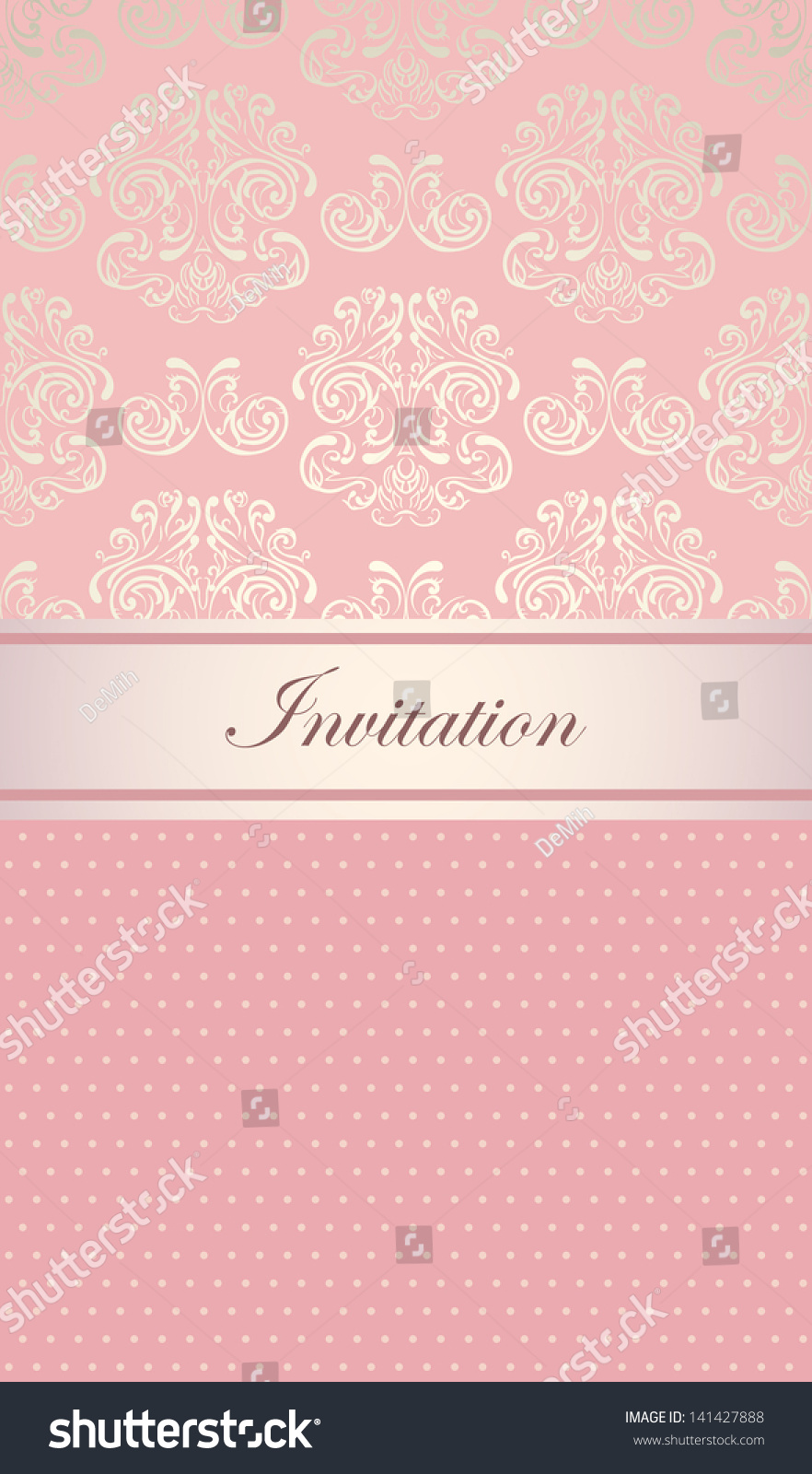 Elegant royal invitation card light pink stock vector 141427888 elegant royal invitation card with light pink design seamless abstract floral background stopboris Image collections