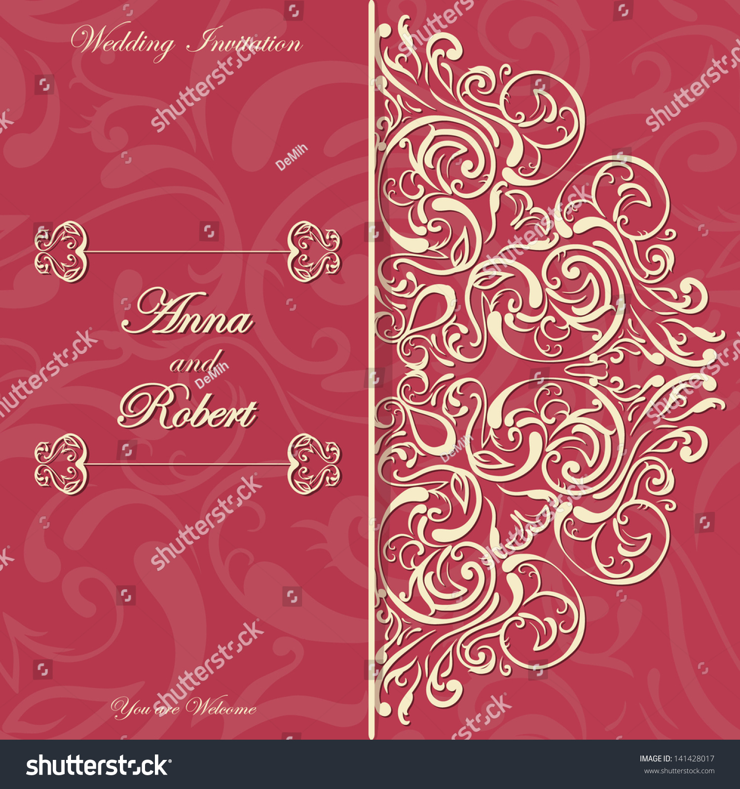 Stylish Invitation Card Round Lace Design Stock Vector (Royalty Free ...