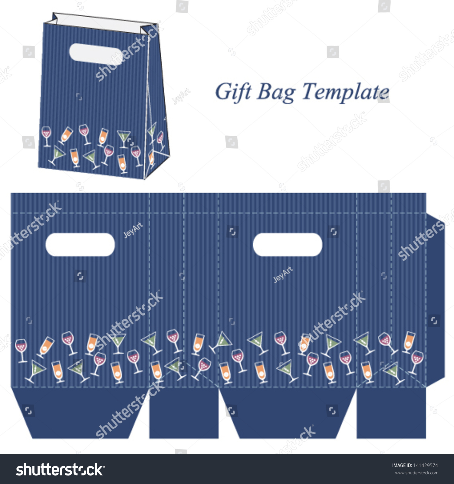 Blue Gift Bag Template Cocktail Wine Stock Vector Royalty Free