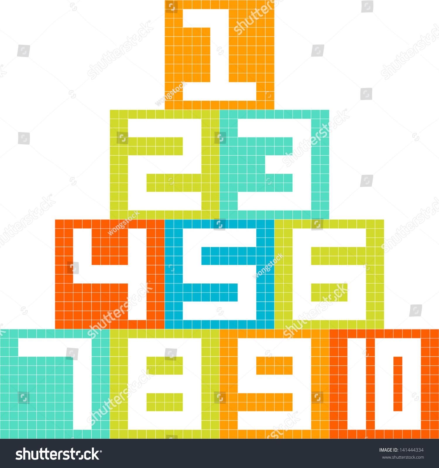 8bit pixelart number 110 blocks arranged stock vector 141444334