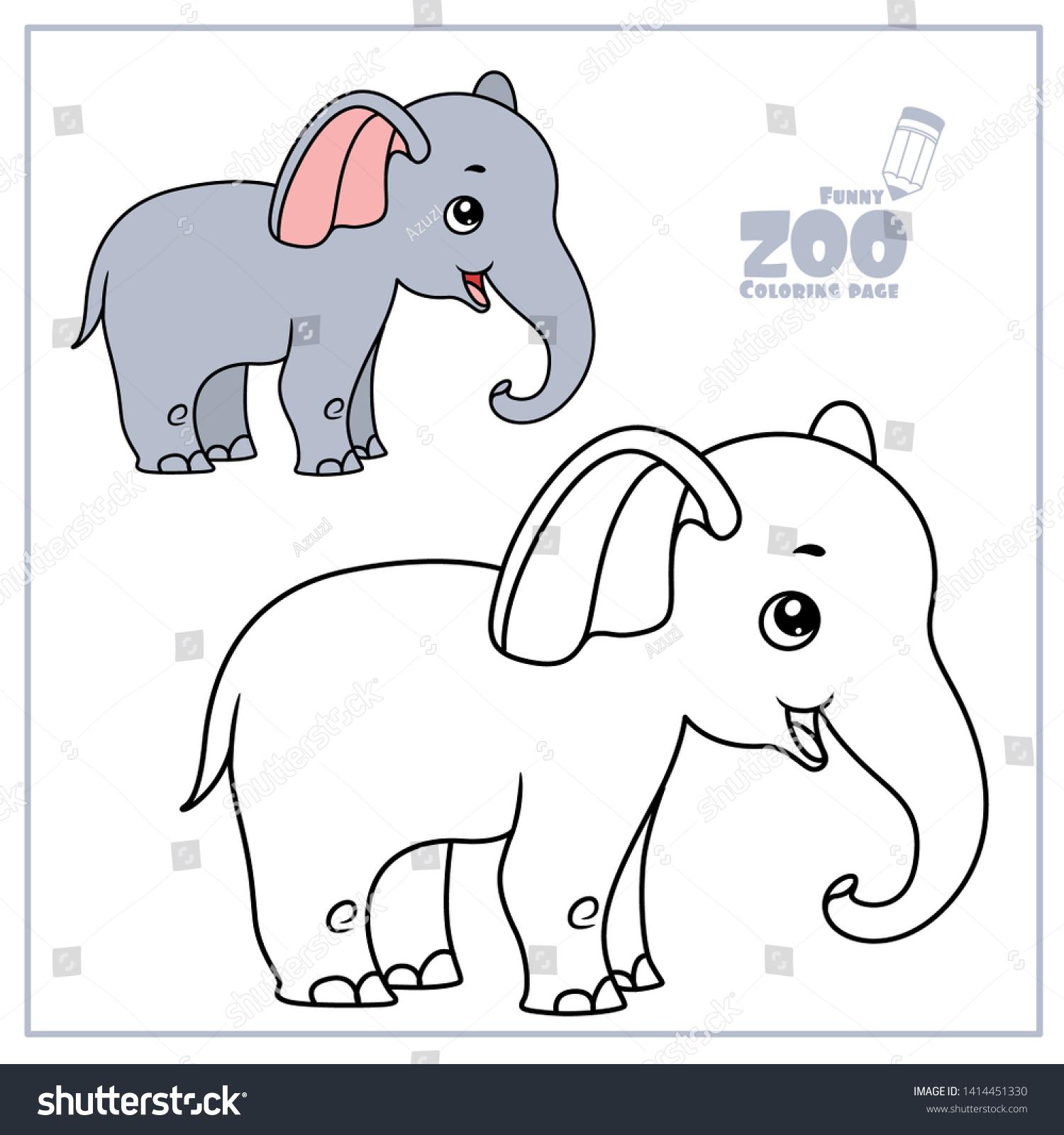 Cute Cartoon Little Elephant Color Outlined Stock Vector Royalty