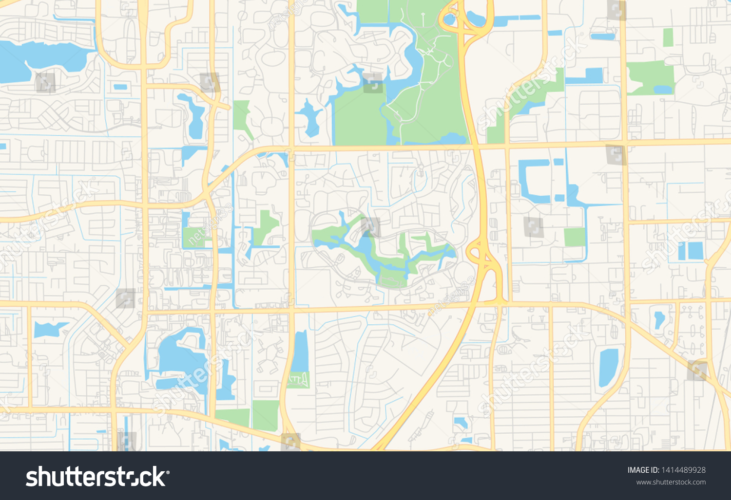 Empty vector map of Coconut Creek, Florida, USA, printable road map created in classic web colors for infographic backgrounds.