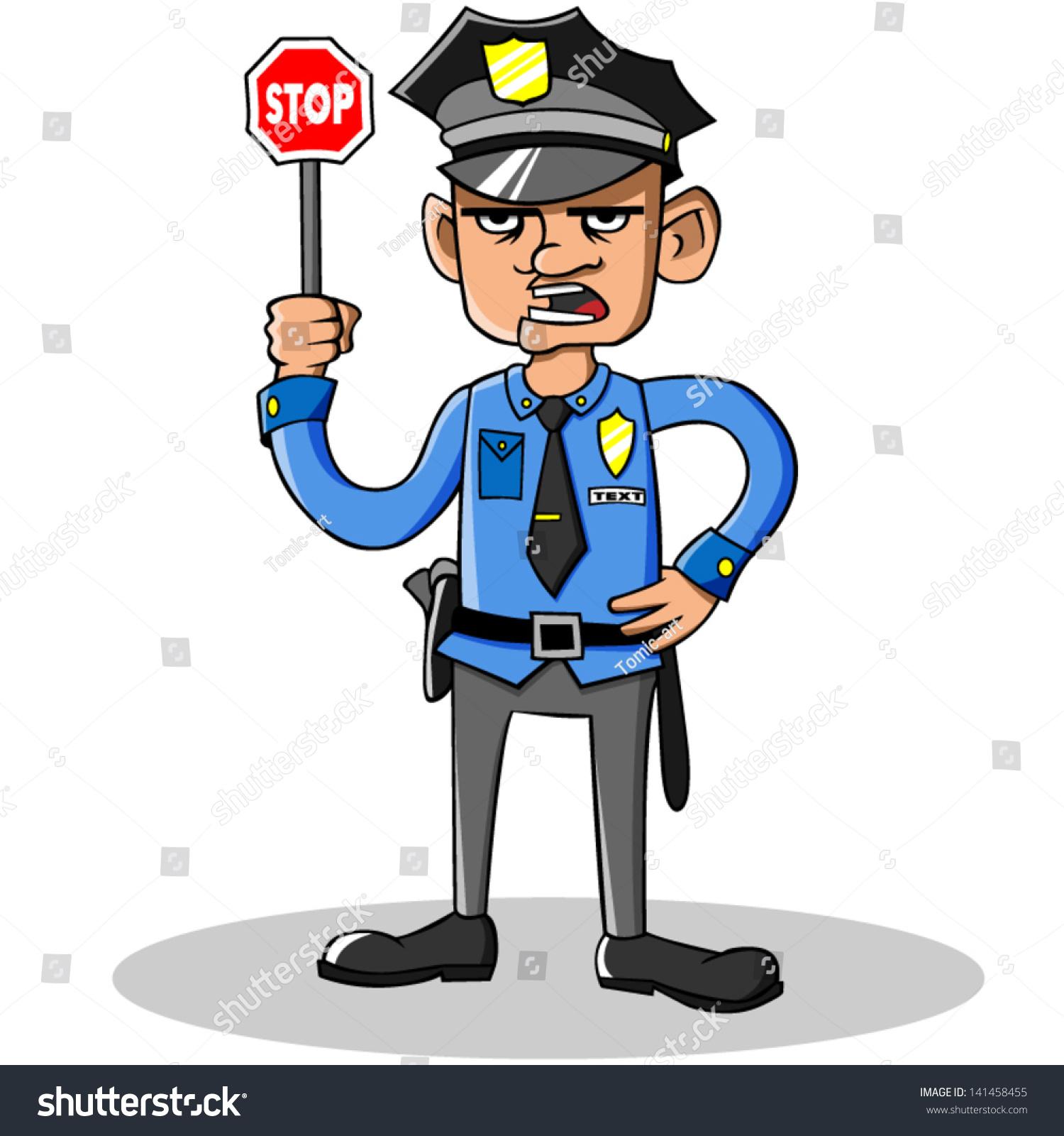 Cartoon Vector Policeman Stock Vector 141458455