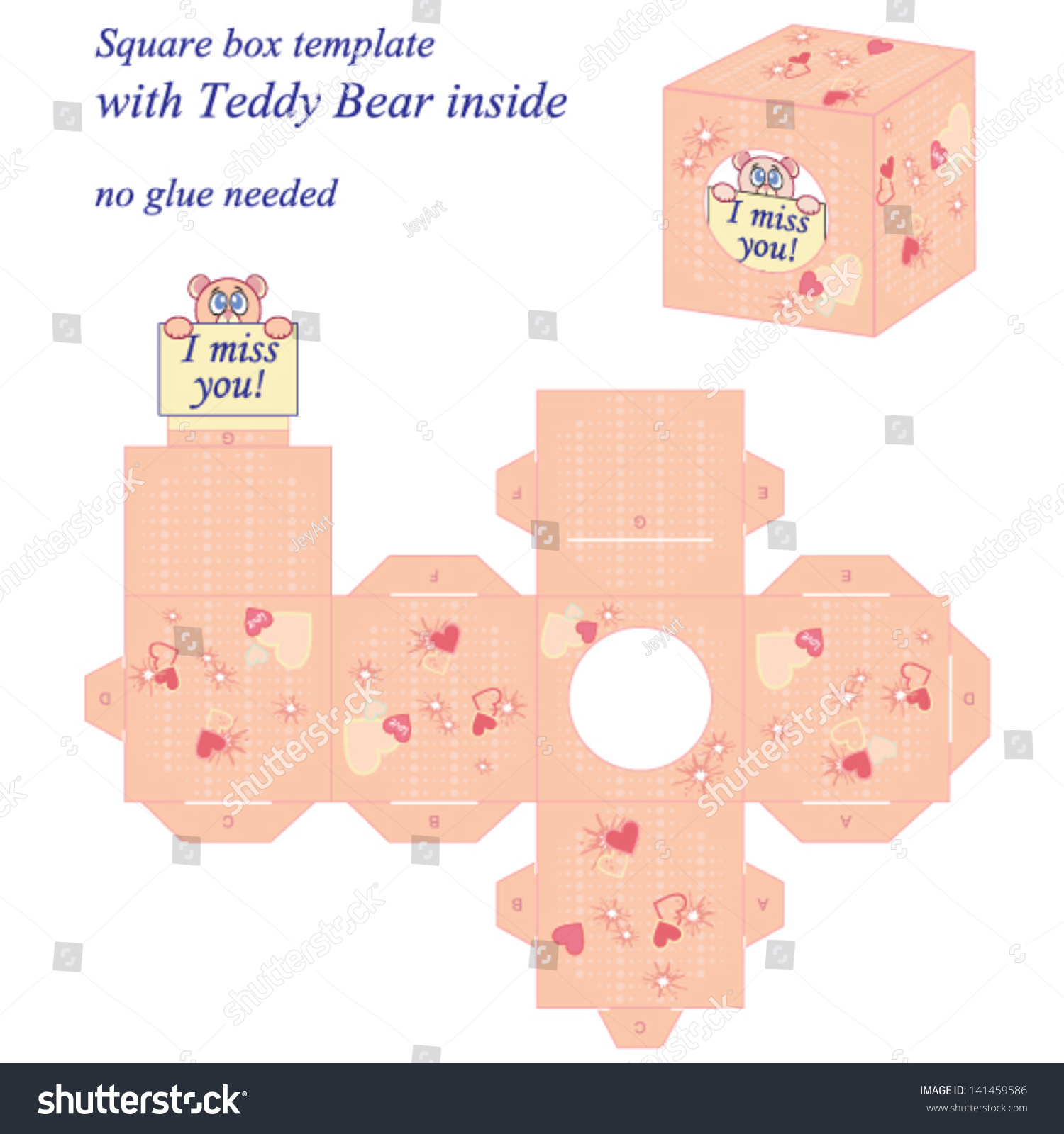 interesting square box template cute teddy stock vector royalty