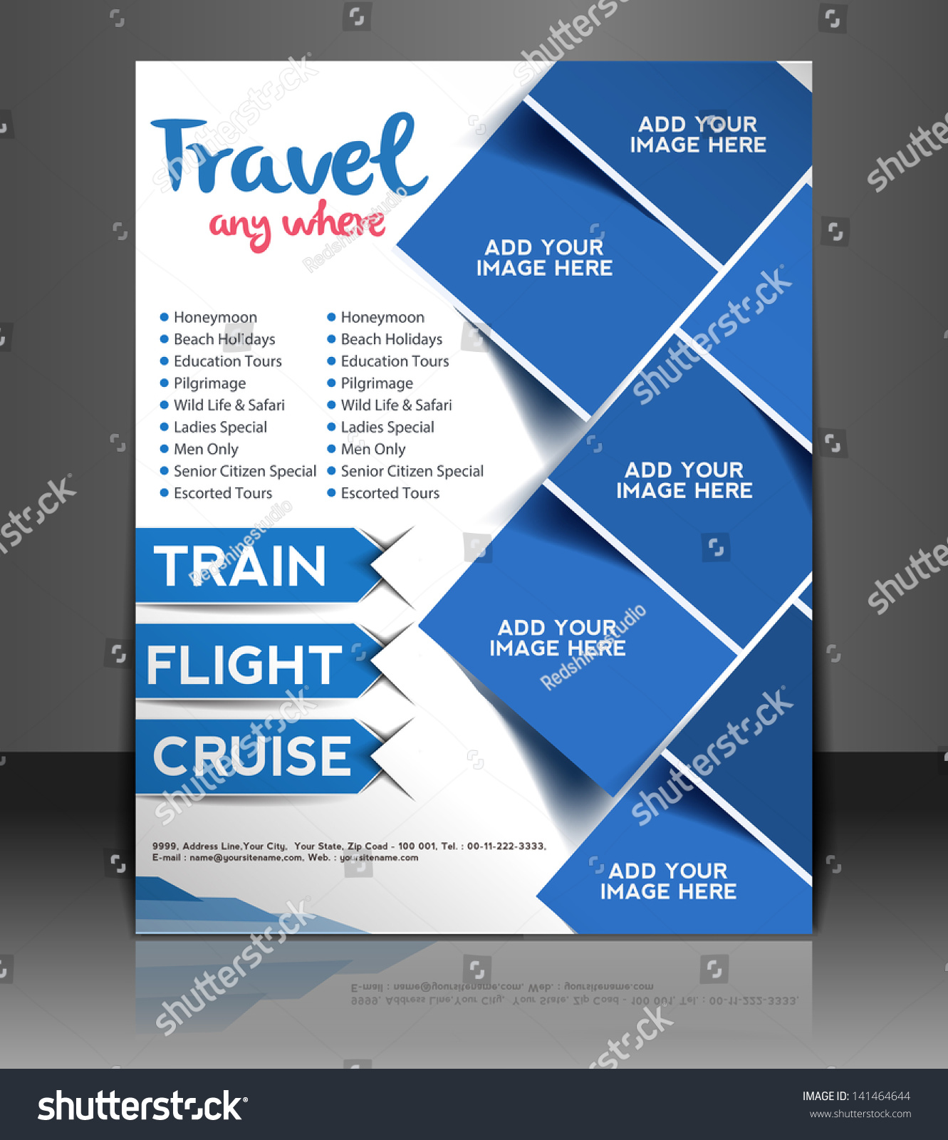 Vector travel center brochure flyer magazine stock vector for Cruise brochure template