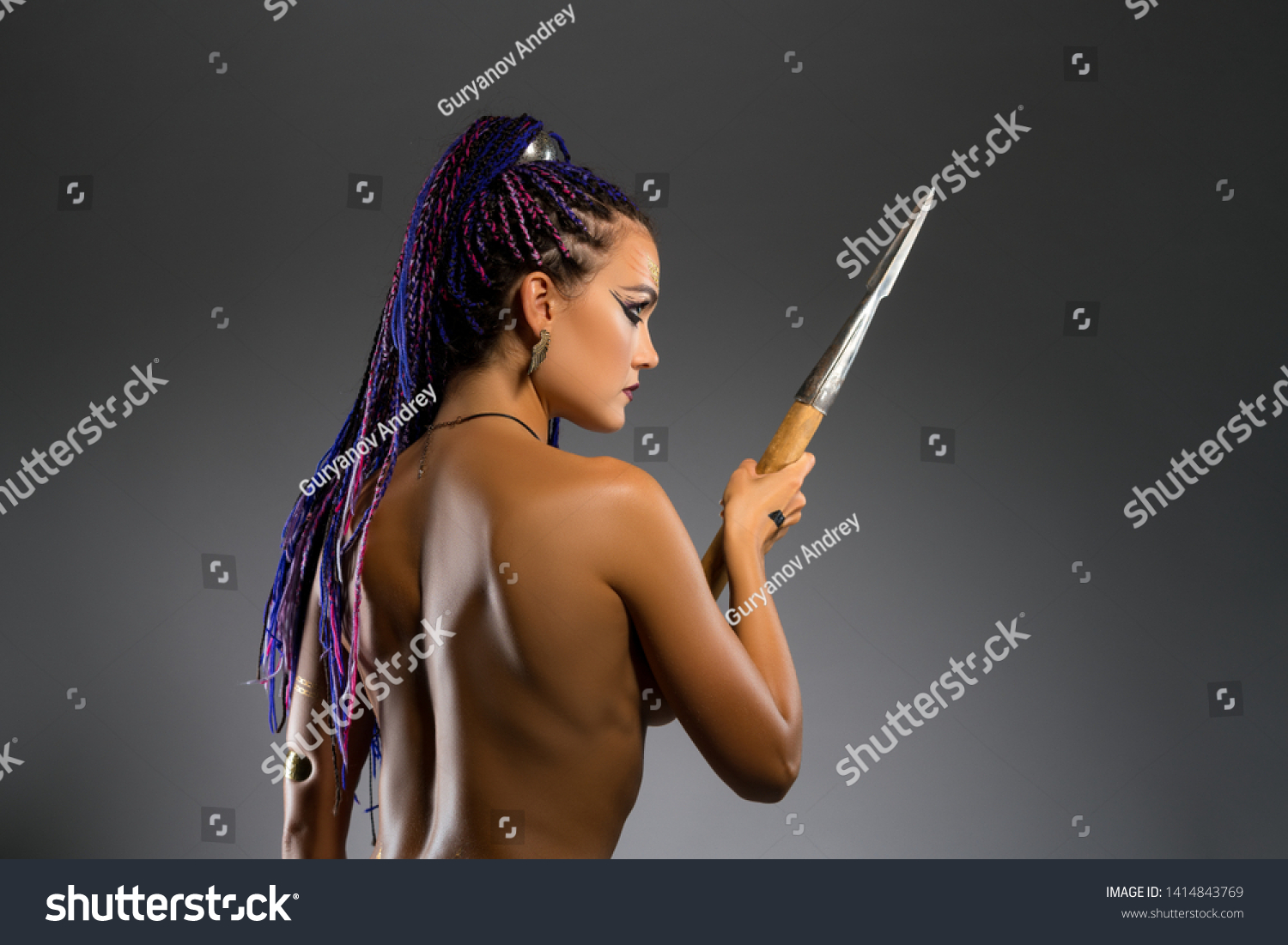 Amazon Nude Pic amazon nude spear rearview   people, beauty/fashion stock image