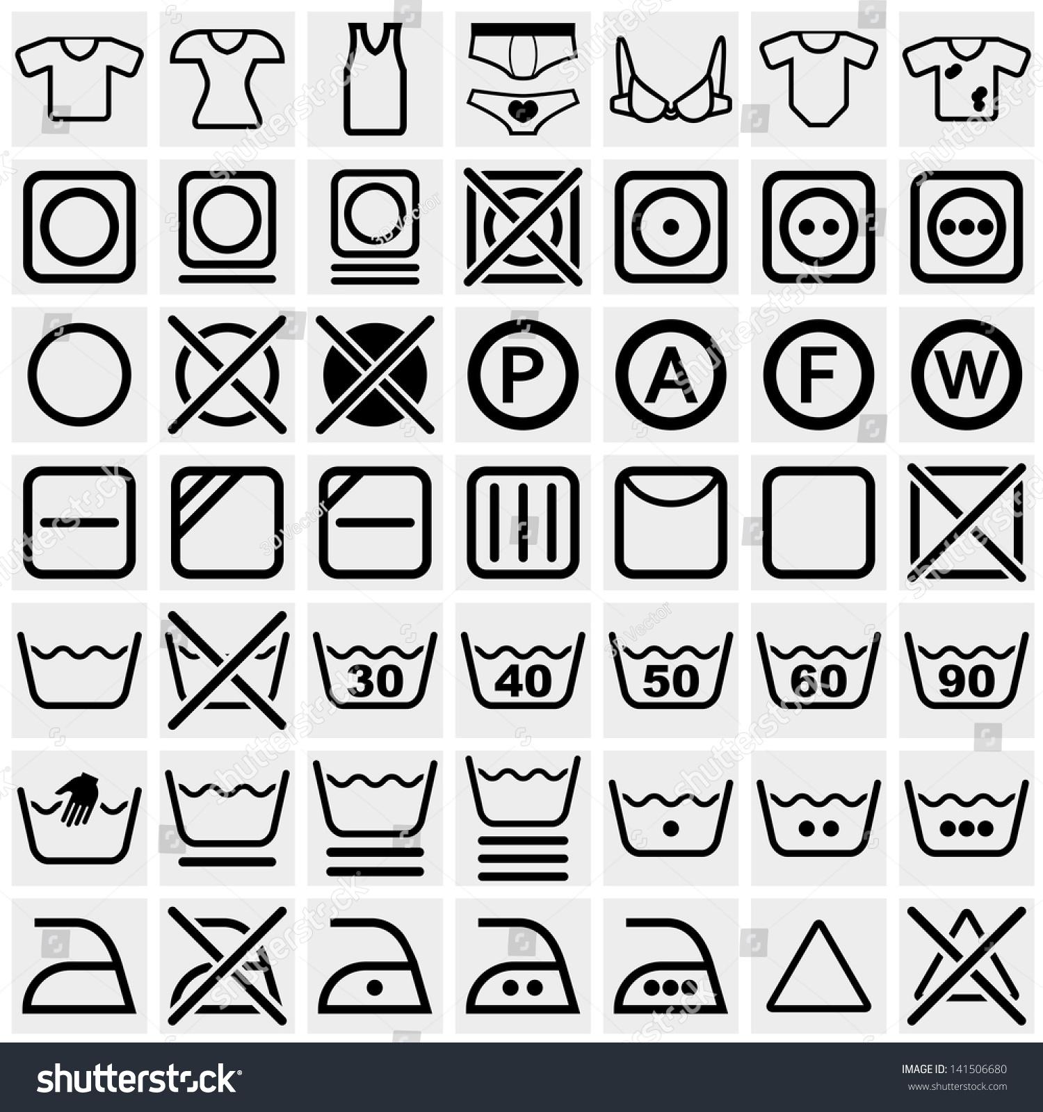 Royalty Free Washing Symbols Washing Instruction 141506680 Stock