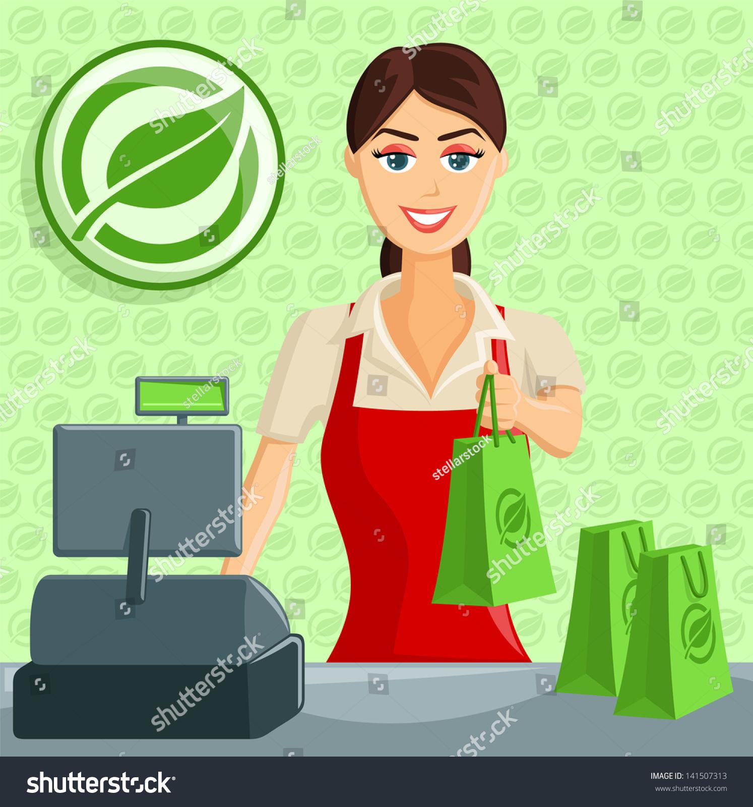 Cashier Cartoons: Smiling Supermarket Eco Green Store Cashier Stock Vector
