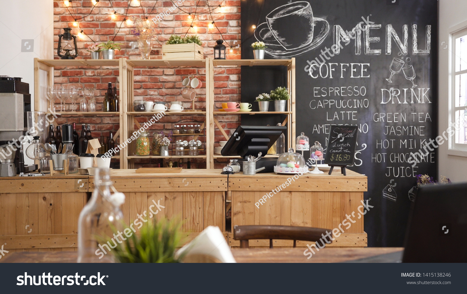 3d render of cafe bar restaurant nobody indoor. Empty coffee shop interior daytime with wooden design counter red brick wall in background. menu writing on blackboard with beautiful letters and cup. #1415138246