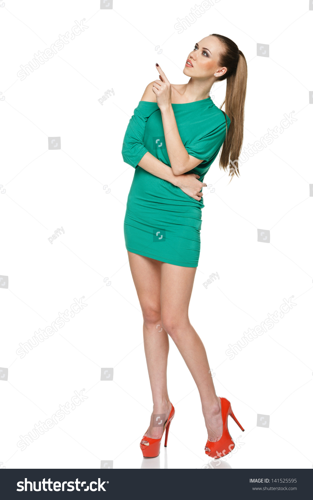 Summer Woman Full Length Wearing Green Stock Photo 141525595 ...