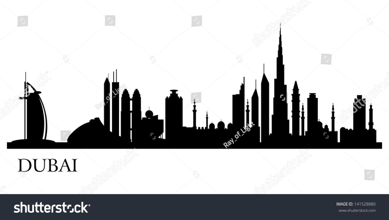 Dubai City Silhouette Vector Skyline Illustration Stock
