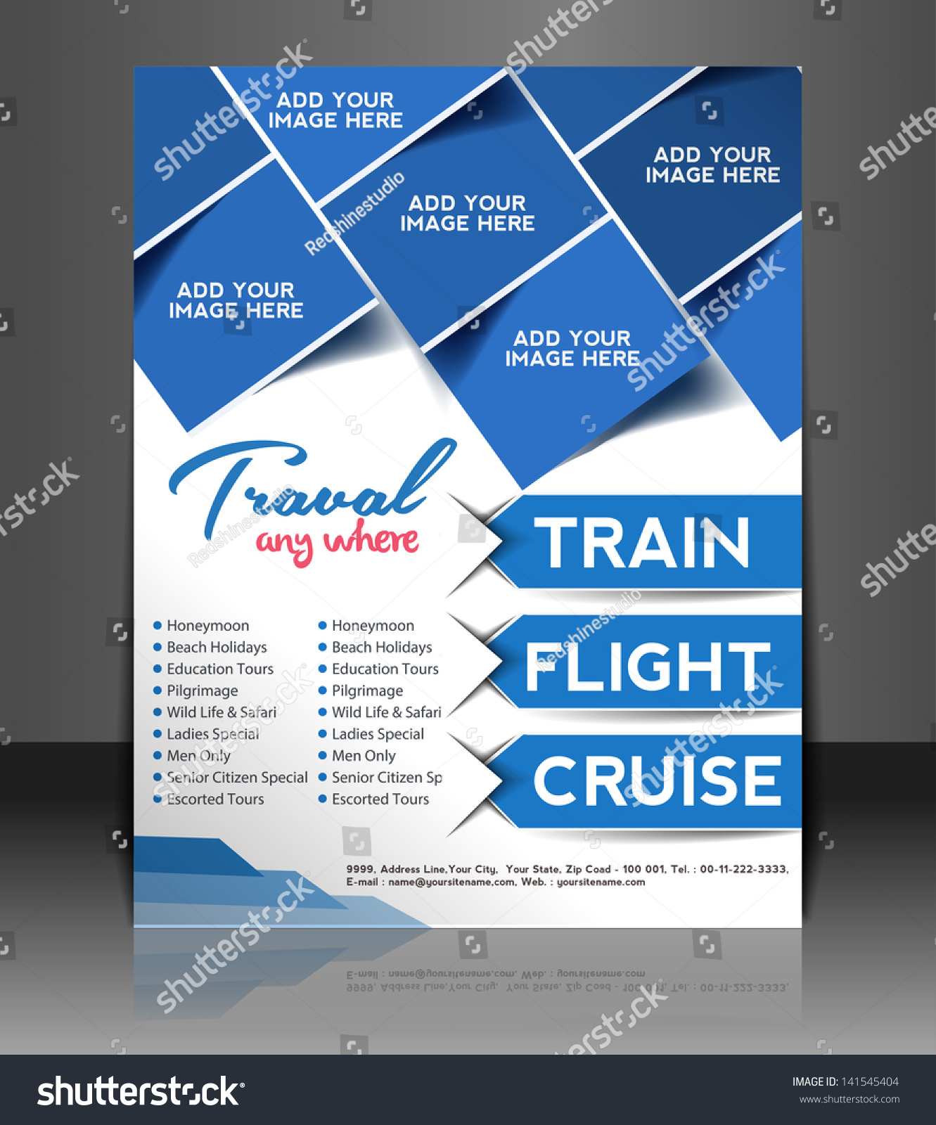 travel brochure template - vector travel brochure flyer magazine cover stock vector