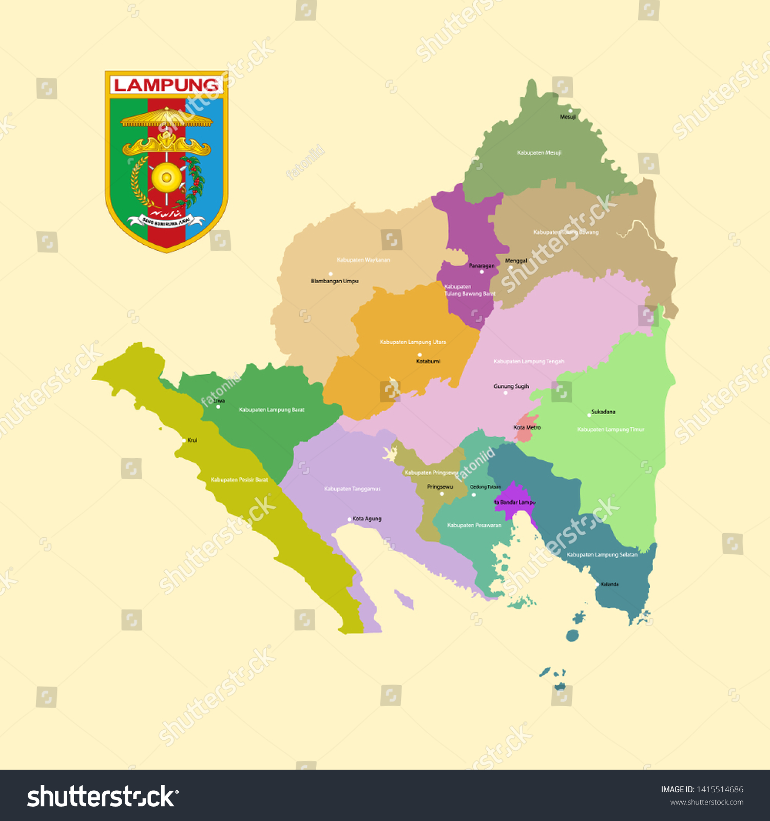 Colored Map Logo Lampung Province Stock Vector Royalty Free 1415514686