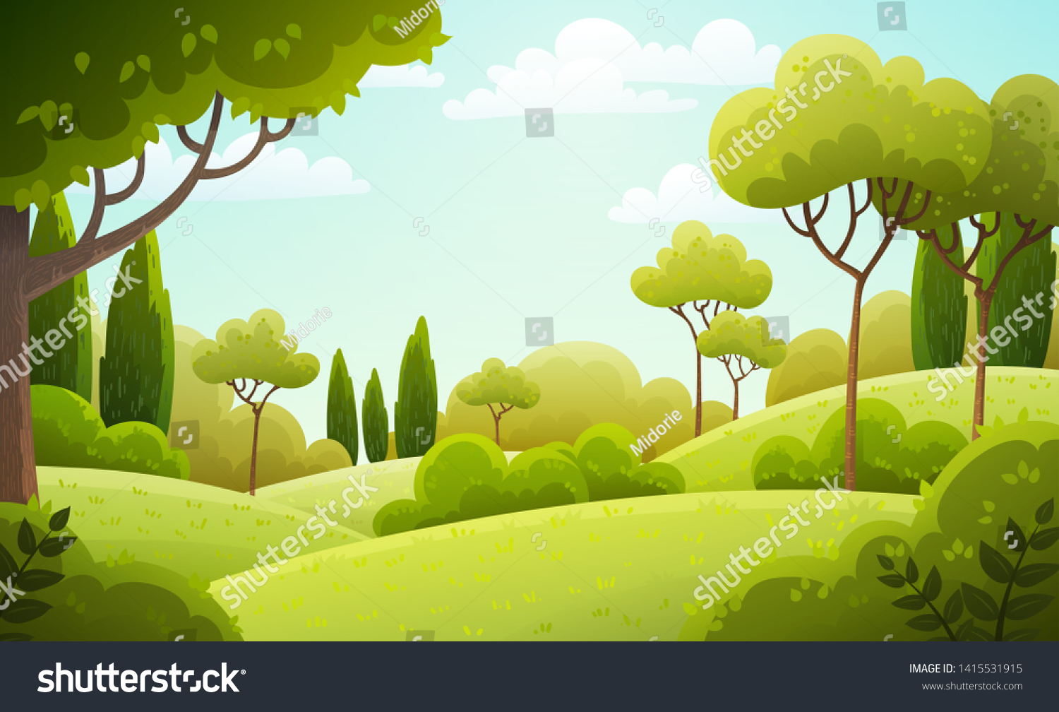 Vector illustration background of the Italian countryside. Hill landscape with pines and cypresses. Spring scenery with green grass and blue sky. #1415531915