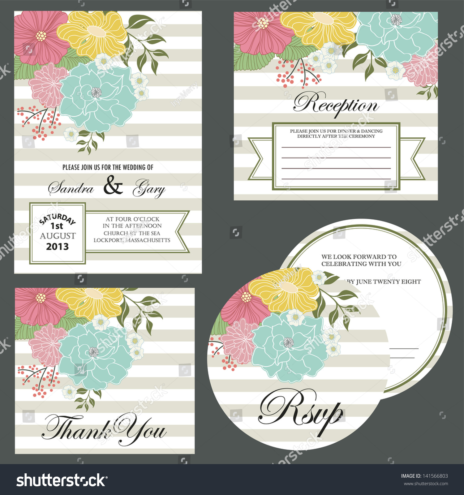 Set Wedding Invitation Cards Invitation Thank Vector – Invitation Card Rsvp
