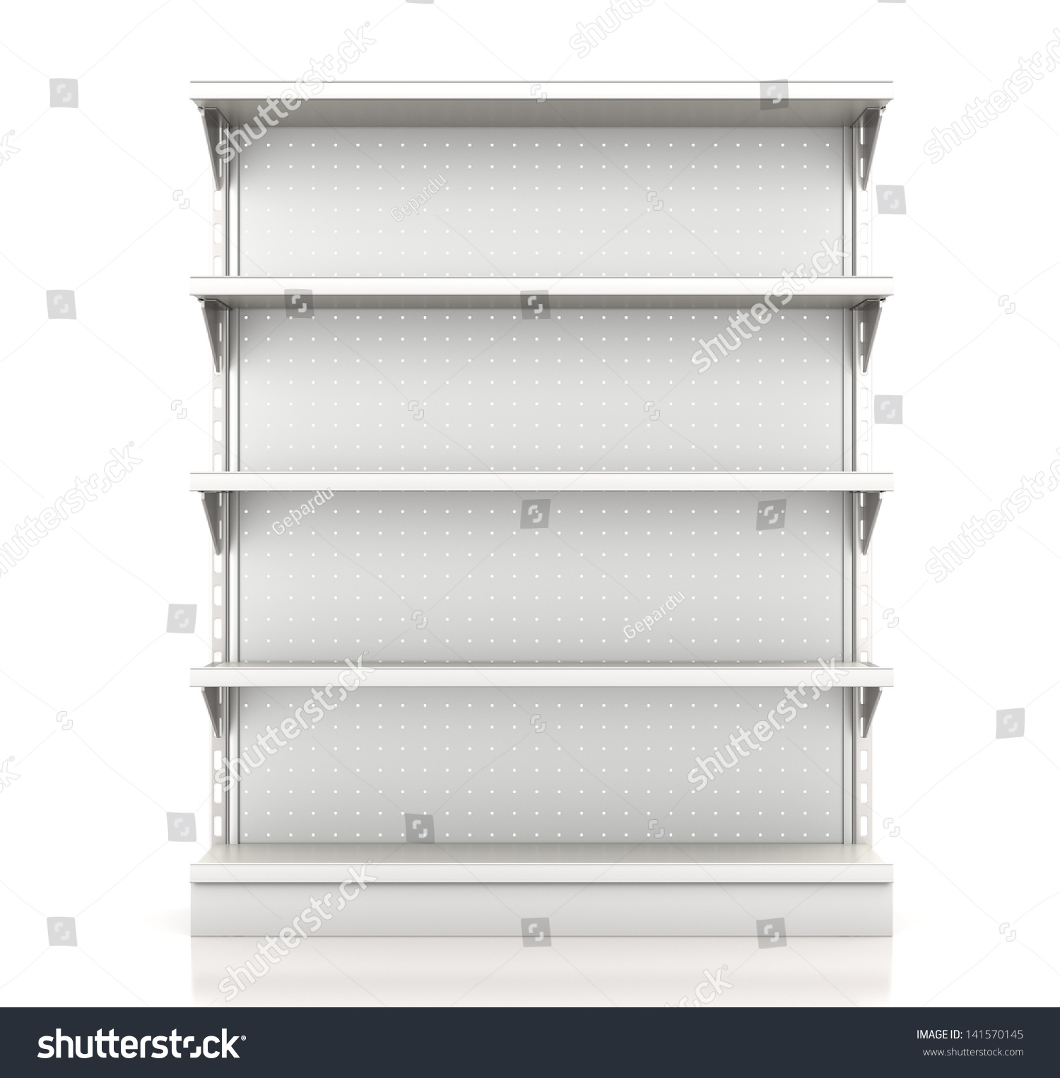 Supermarket Shelves Render Front On White Stock