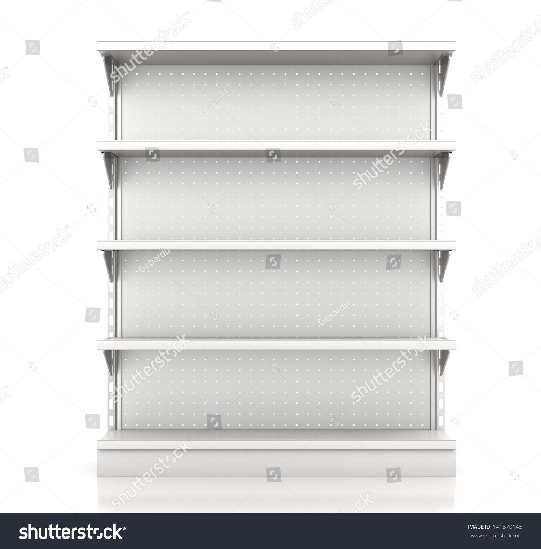 Supermarket Shelves Render Front On White Stock
