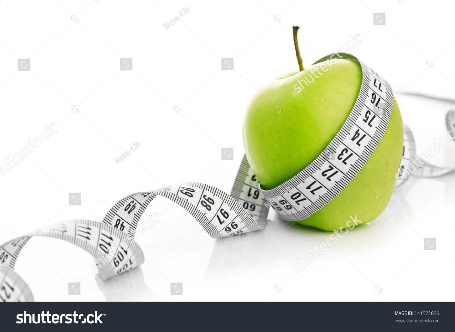 Measuring Tape Wrapped Around Green Apple Stock Photo Image
