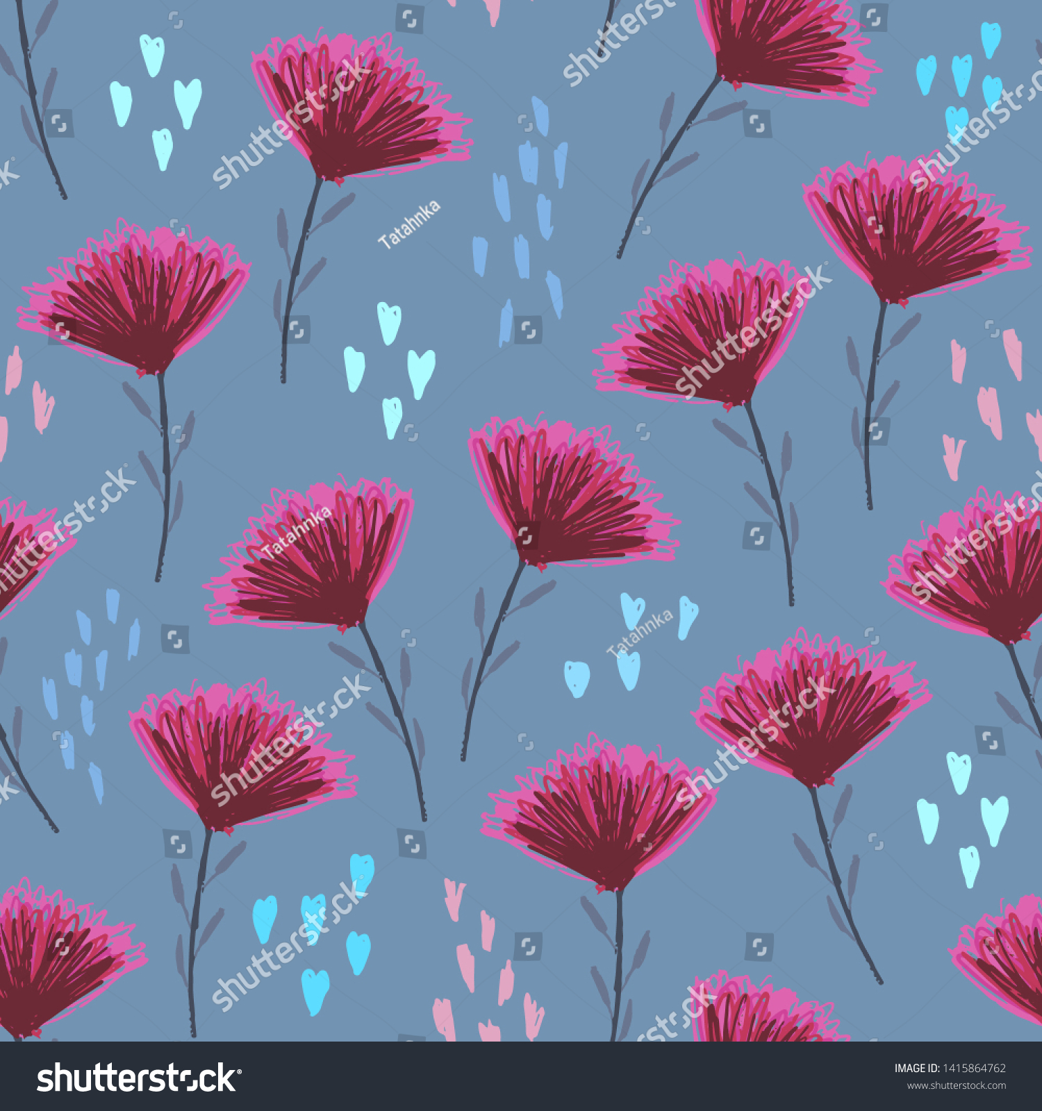Pale Blue Floral Seamless Pattern Cute Stock Vector Royalty Free