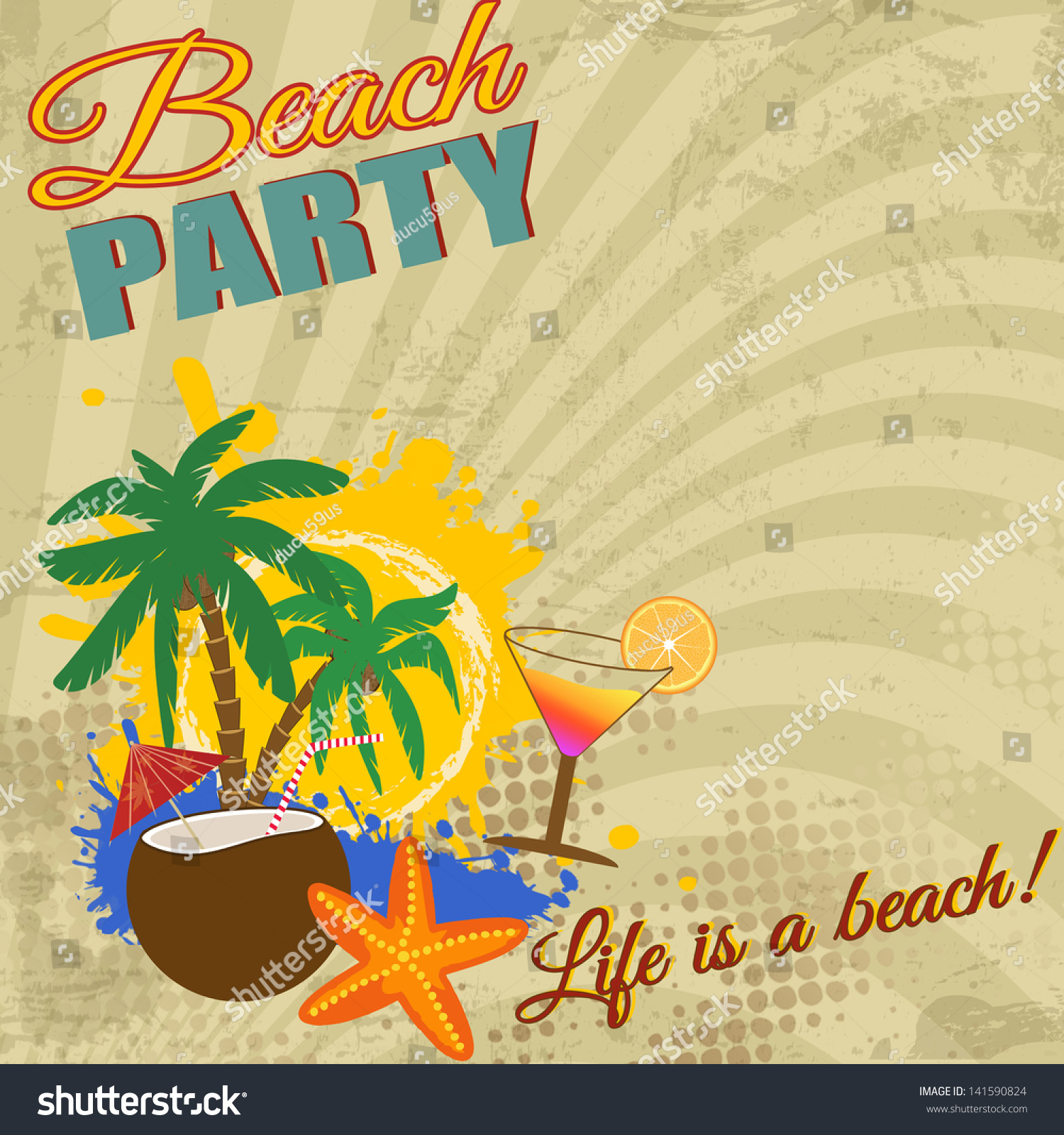 Vintage Beach Background Stock Photo 112981333: Vintage Beach Party Poster On Retro Style, Vector