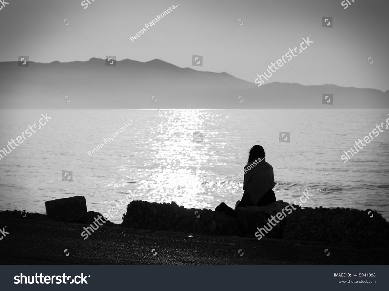Depression black white photo melancholic girl stock photo edit now