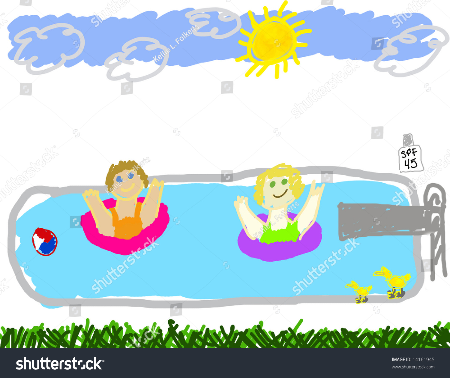 Childs Drawing Summer Swimming Pool Party Stock