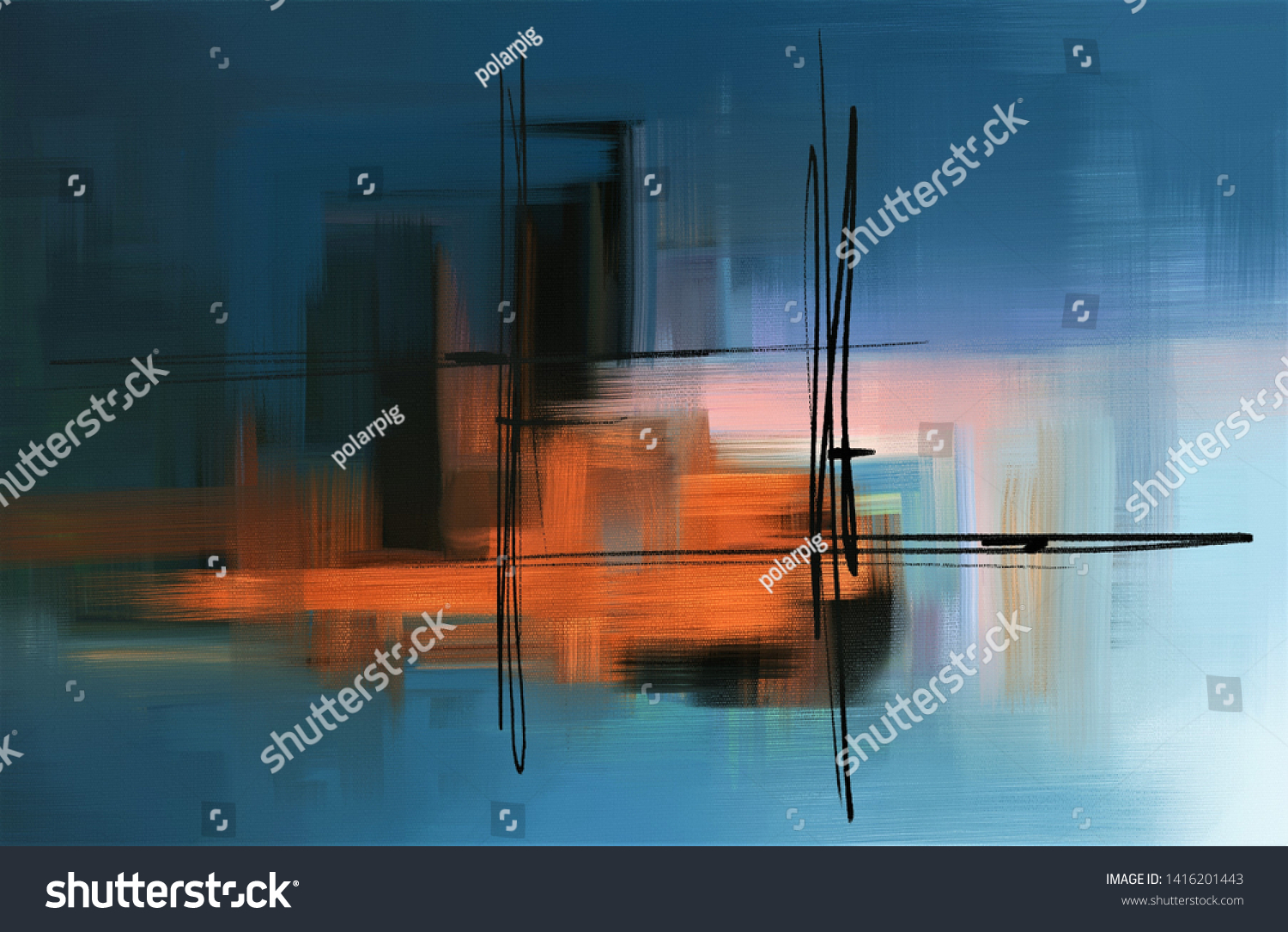 Colorful Abstract Acrylic Painting Surreal Landscape Stock