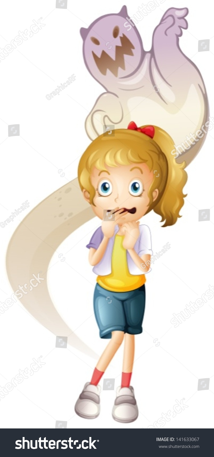 Scared little cartoon girl stock images similar to id 186596690