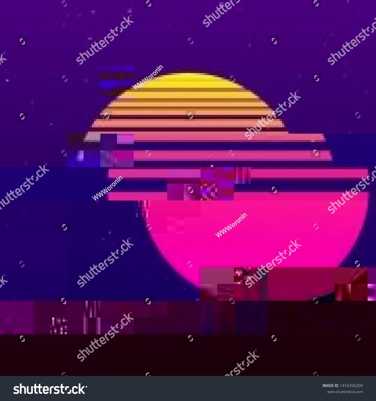 Abstract Cyberpunk Background Striped Alien Sun Stock Image