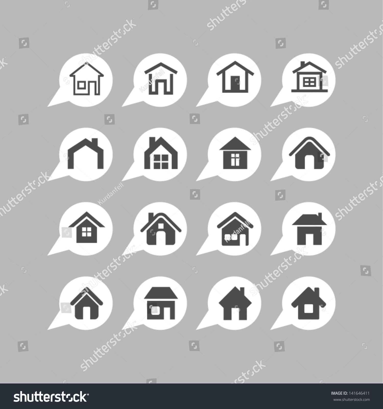 Home Design Icons Stock Vector 141646411 - Shutterstock