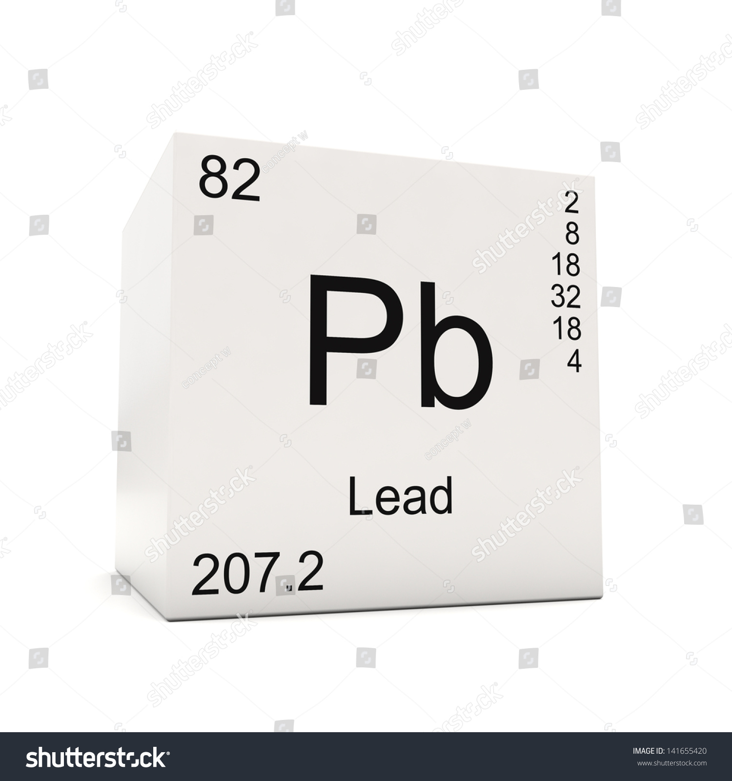 Cube Lead Element Periodic Table Isolated Stock Illustration