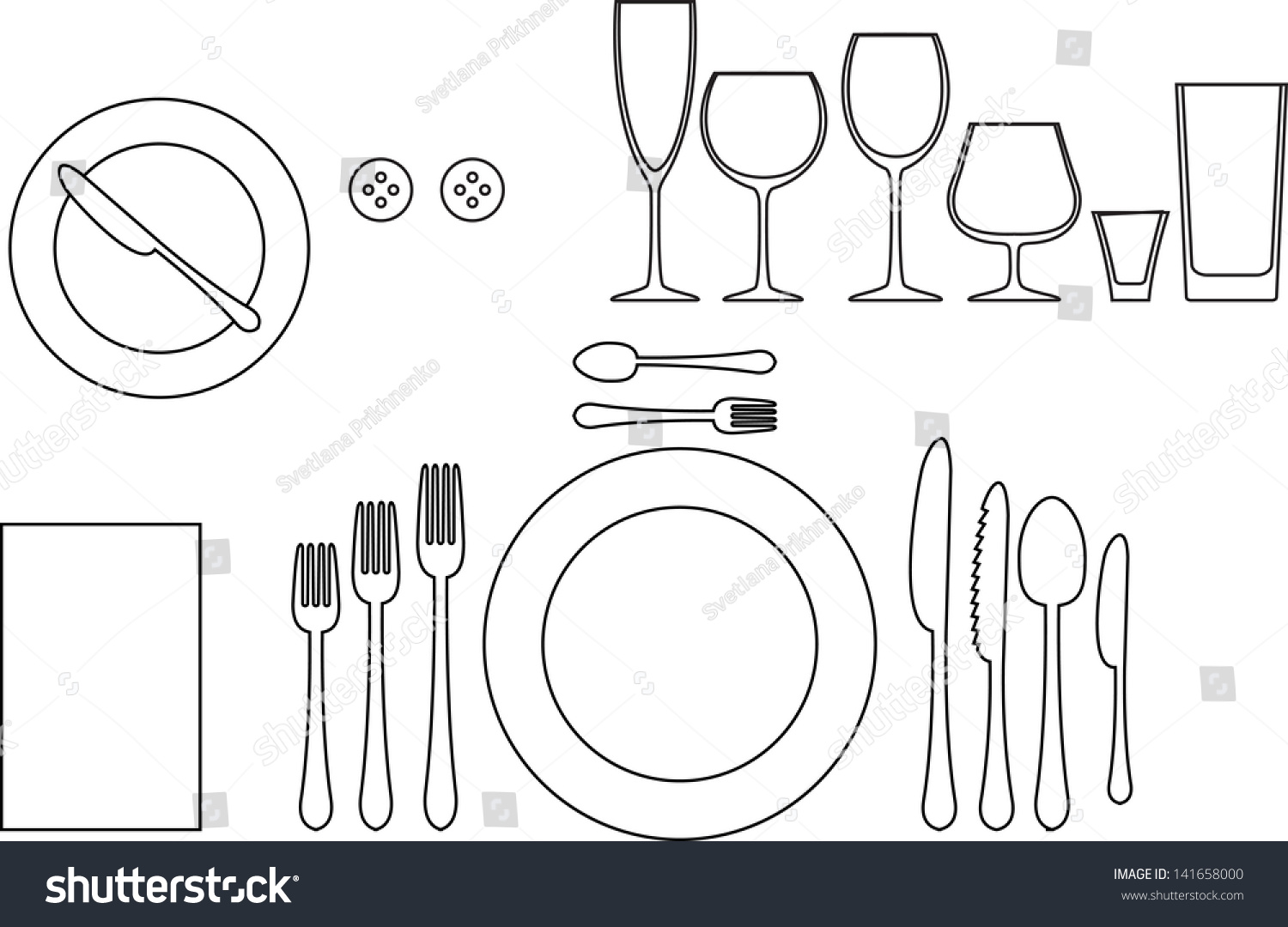 Proper table setting diagram diagram of a formal table setting - Outline Silhouette Of Tableware Etiquette Proper Table Setting