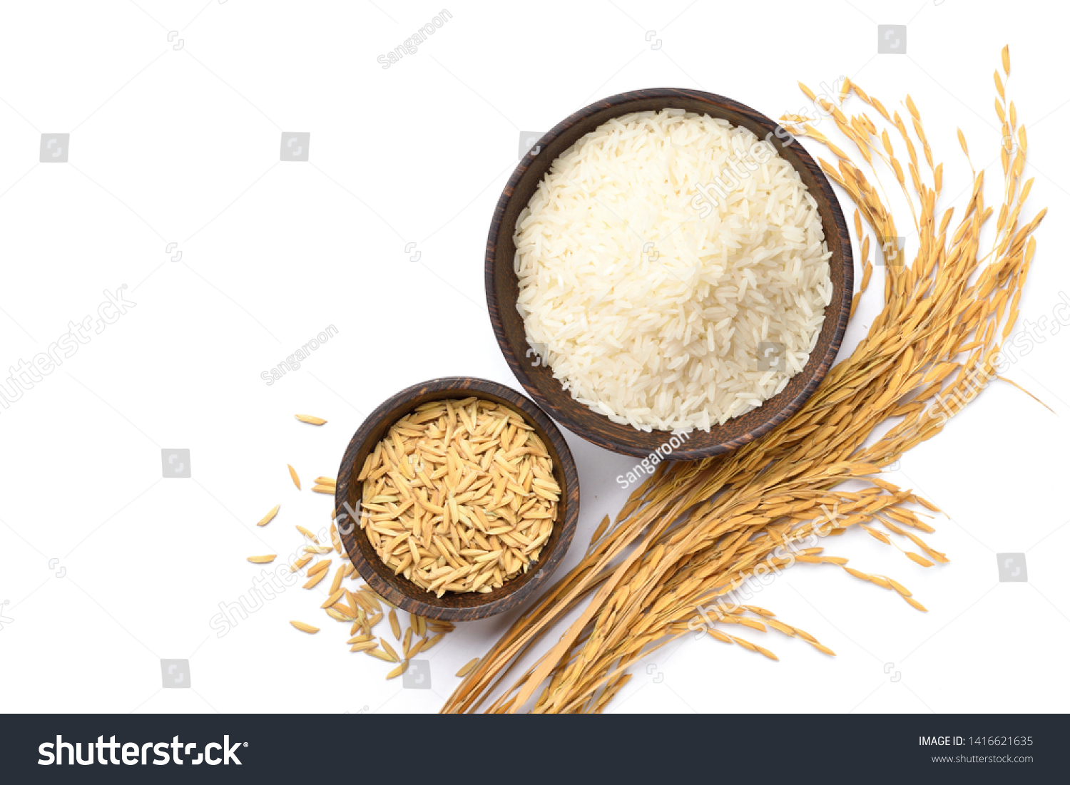 Top view of white rice and paddy rice in wooden bowl with rice ear isolated on white background. #1416621635